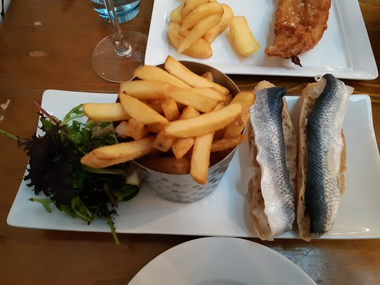 Deanes Love Fish: rollmops and chips and salad (and edge of fish and chips just at top)