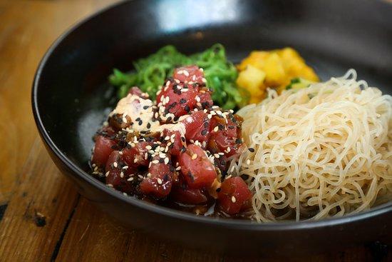 Tuna Poke Bowl   sushi-grade ahi tuna, ponzu, cilantro, cucumber, sweet onion, sesame seed, scallion, seaweed salad, glass noodles