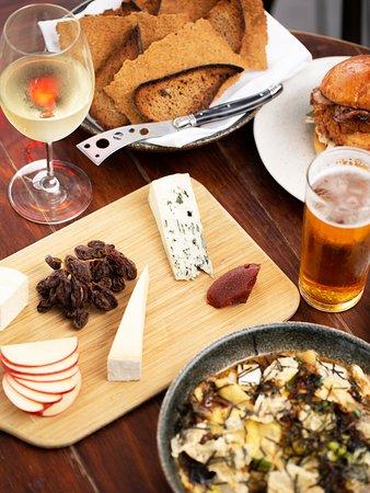Transit Rooftop Bar: Cheese board, burger, dumplings, drinks