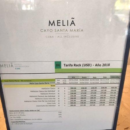 Tarif de l'hôtel affiche à la réception !