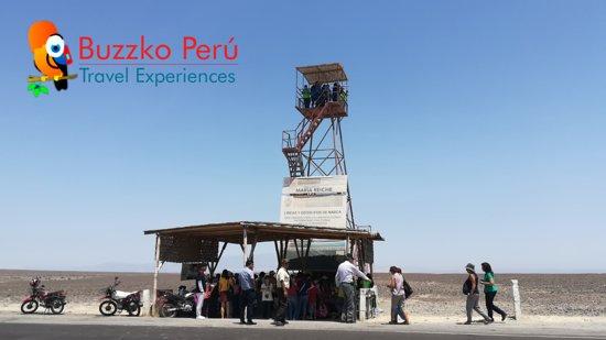 Lineas De Nazca: Tour arqueológico Nasca. Torre metálica Maria Reiche (figuras de las manos, el árbol y el lagarto)
