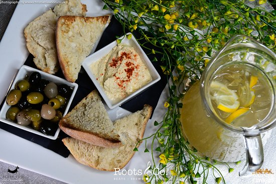 Roots & Co Hummus, rustic breads and olives | £4.95 20 Post Office Road 01202 558399