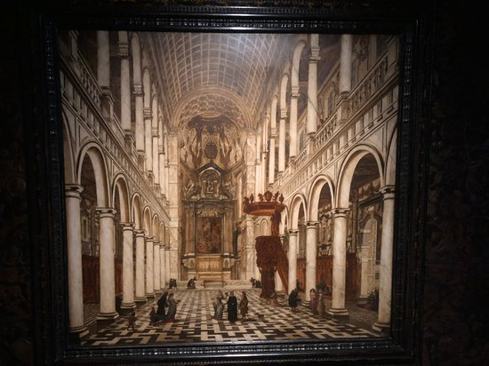 Antwerpen, Belgia: The tile and pattern on the floor in the painting here is replicated in the same room that house this painting.