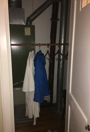 Most of the space in closet of our deluxe Queen room at the MarQueen Hotel was taken up by a noisy furnace.