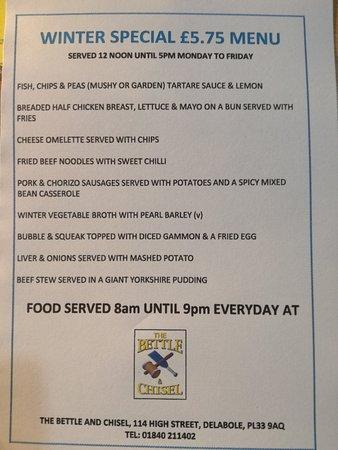 Delabole, UK: Winter special £5.75 menu served Mon to Fri 8am to 9pm