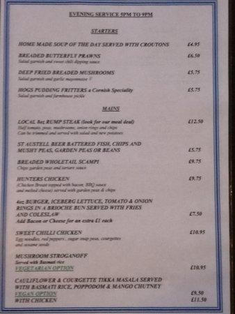 Delabole, UK: Evening Menu served 5pm to 9pm
