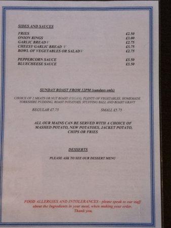 Delabole, UK: evening sides and sauces