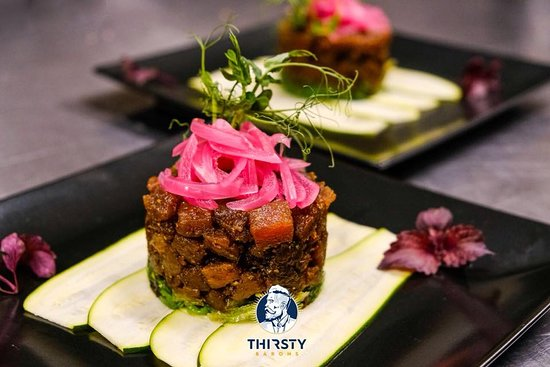 Thirsty Barons: Not in mood for steak? Try our Poke Aku, delicious tuna with cucumber, seaweed and teriyaki sauce.
