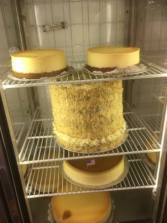 Cakes in refrigerated cabinet