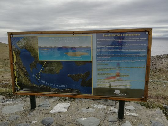 Punta Arenas, Chile: Sign at the lighthouse on Isla Magdalena.