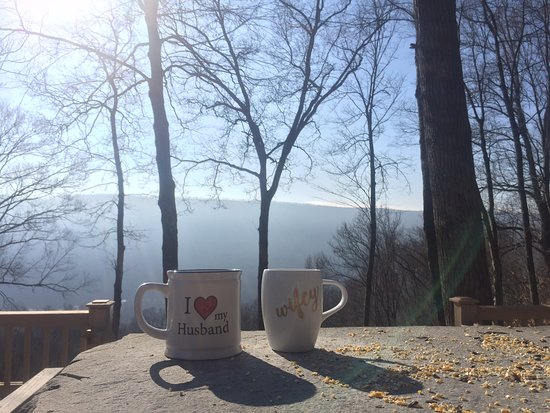 Pocono Mountains Region, PA: Our mugs hanging out on the deck out front