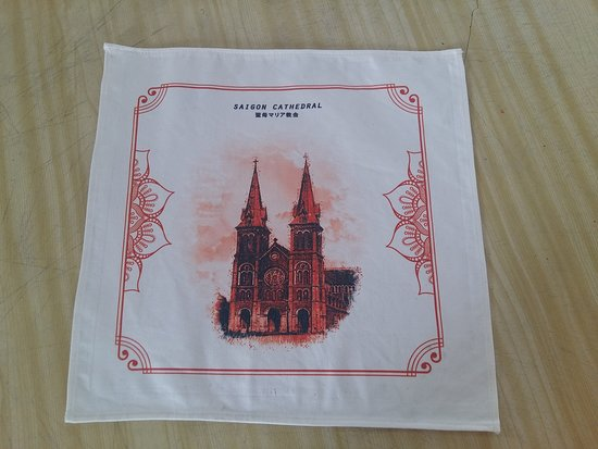 the table cover with tourist attractive printed on ( SAI GON catholic  church . ) as your trip souvenir from VIET NAM  size 50 cm x 50 cm  price : 2 $/ pc - 6 $ for 4 pcs ( 1 unit ) buying 4 unit free 01   door to door delivery in 1-3 days