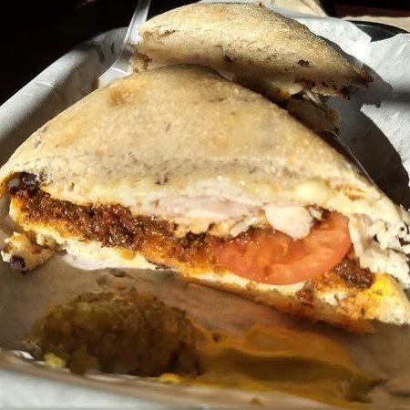 One half of a turkey sandwich.