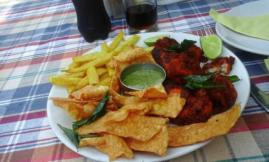 Savithri Inn Bamboo cottage : sea food at varkala beach
