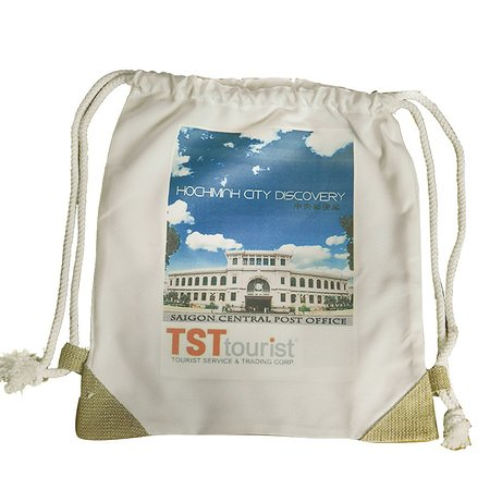 the recycle cotton canvas pack back bag  with tourist attractive :  SAI GON post office . printed on.  as your trip souvenir from VIET NAM  size 42 cm  x 36  cm . string  on top . small pocket in side bag  price : 3 $/ pc -  buying 5 unit free 01   door to door delivery in 1-3 days