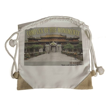 the recycle cotton canvas pack back bag  with tourist attractive :  HUE imperial  palace ( UNESCO certificaed ) printed on.  as your trip souvenir from VIET NAM  size 42 cm  x 36  cm . string  on top . small pocket in side bag  price : 3 $/ pc -  buying 5 unit free 01   door to door delivery in 1-3 days