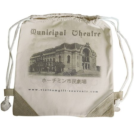 the recycle cotton canvas pack back bag  with tourist attractive :  SAI GON THEATER ,  printed on.  as your trip souvenir from VIET NAM  size 42 cm  x 36  cm . string  on top . small pocket in side bag  price : 3 $/ pc -  buying 5 unit free 01   door to door delivery in 1-3 days