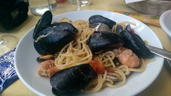 Liguria, Italy: Спагетти с морепродуктами