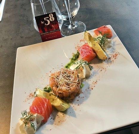 Le 58: Bistrot 58 - Tartare de saumon aux 2 façons