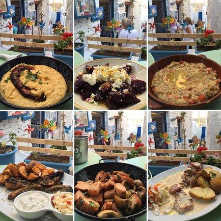 Chora, Greece: De arriba a abajo y de izquierda a derecha: Octopus cn fava, ensalada de remolacha con queso, melitzanosalata, panceta, pollo marinado con champiñones y solomillo de cerdo en salsa 4 quesos.