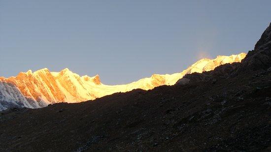 Annapurna Region, Nepal: Annapurna Range at sunrise from Machhapuchare Base Camp