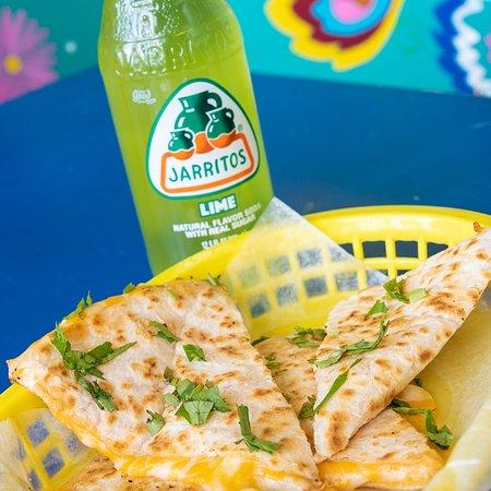Medford, NY: A photo of quesdillas and some tasty Jarritos soda!