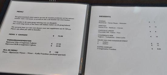 Restaurant MARREES: menu