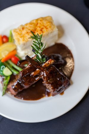 Double Bone Lamb Chops with a Shallot Red Wine Reduction.