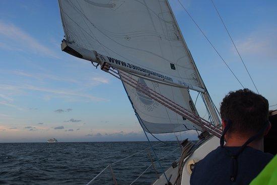 Sunset Sail by San Juan Historical Bay: Cruise ship in distance