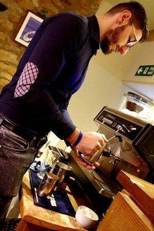 The Haseley Plough: Our Italian barista doing his thing.