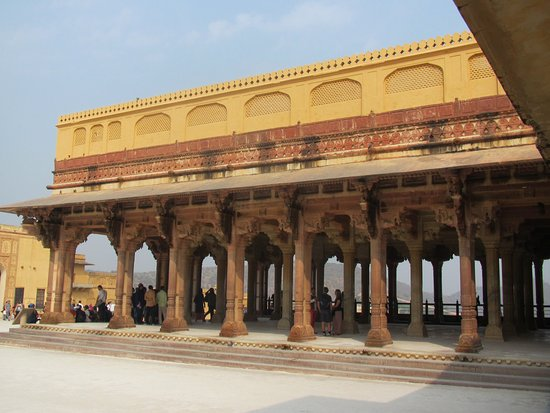 Amber Fort: Open air audience area.   A good, cooling breeze passes through this building.