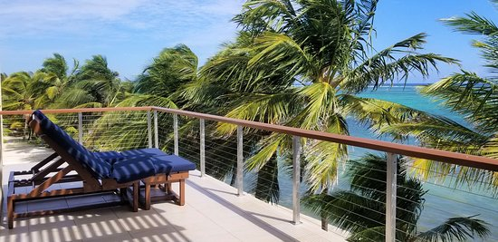 Here's the view from a beachfront suite looking towards the Caribbean.