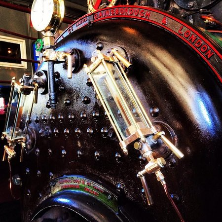 Get up close to the open boiler, the Marshall & Sons engine