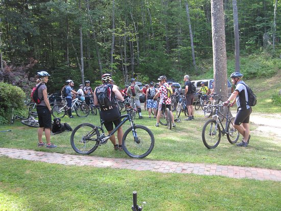 Parsonsfield, ME: Front lawn of Lodge Getting ready for group rides