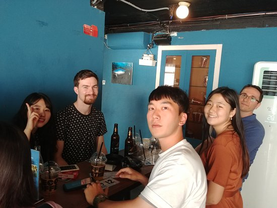 Getting a good vibes from this group of language exchange people in Hongdae Seoul Korea.