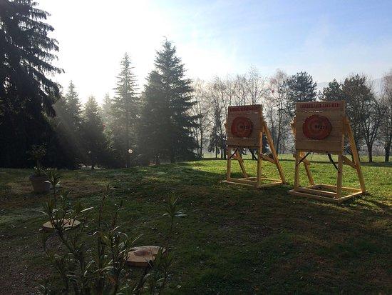 Chambery, Francuska: L'équipe Eolia a décidé de s'amuser tout en améliorant la cohésion d'équipe avec une prestation de lancer de haches lors de leur séminaire annuel. Merci au château de Candie de nous avoir accueilli.