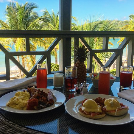 Breakfast on our private balcony overlooking the bay.