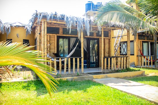 """El bungalow para 8 personas se denomina """" Concha Perla """"  Este bungalow cuenta con dos camarotes y dos camas dobles, para un máximo de ocho personas. Asimismo, Tv por cable, ventilador de pie, agua caliente y frigobar. Baño con buenos acabados. Terraza con vista al jardín, con una hamaca y una silla """"perezosa"""". Posibilidad de una cama extra. Foto 14"""