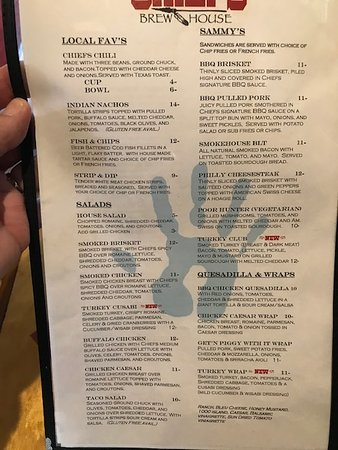 Coburg, OR: a page of the menu