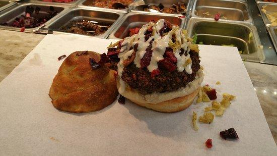 New Hyde Park, NY: Falafel burger in a big garlic knot bun