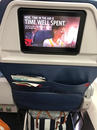 Delta Air Lines: Ready to watch movies on our long flight.
