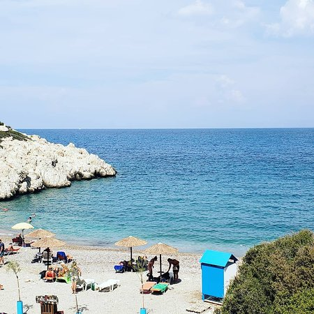 Kritinia, Greece: Beach near Johnny's and view from cafe.