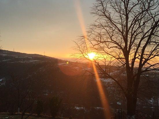 Moldova Noua, Romania: Sunrise from the window of the room