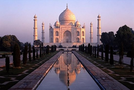 Taj Mahal no nascer do sol e Agra...