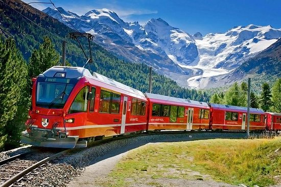 Swiss Alps and the Red train of...