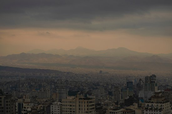 Mount Tochal: Captured from the starting point of the cable car. Seen here is the  city of Tehran in midst of storm