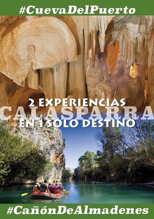 Doble experiencia en un mismo destino. Calasparra. Dos actividades únicas en el Noroeste de la Región de Murcia, Cueva del Puerto, la Joya del Turismo Subterráneo  y Descenso Turístico en Raft o Kayak por el Cañón de almadenes, en la misma mañana. Almuerzo Incluido.