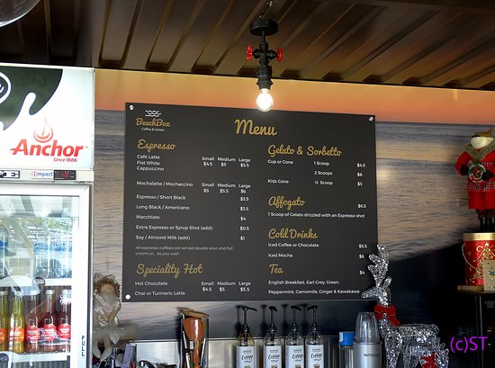 Coopers Beach, Nueva Zelanda: Coffee Menu