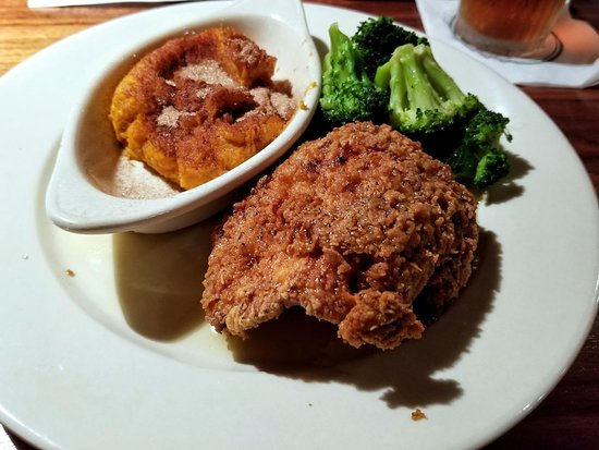 Honey Drizzled Southern Fried Chicken breast with mashed sweet potatoes and broccoli.