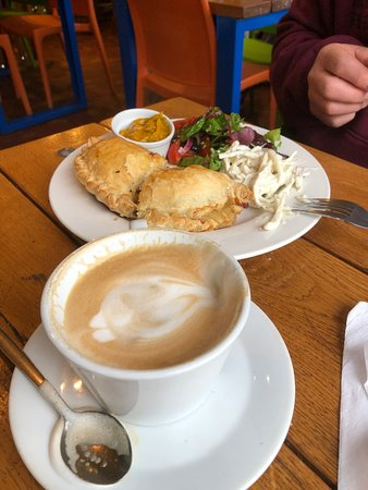 Crackington Haven, UK: Home made cheese and onion pasty with salad